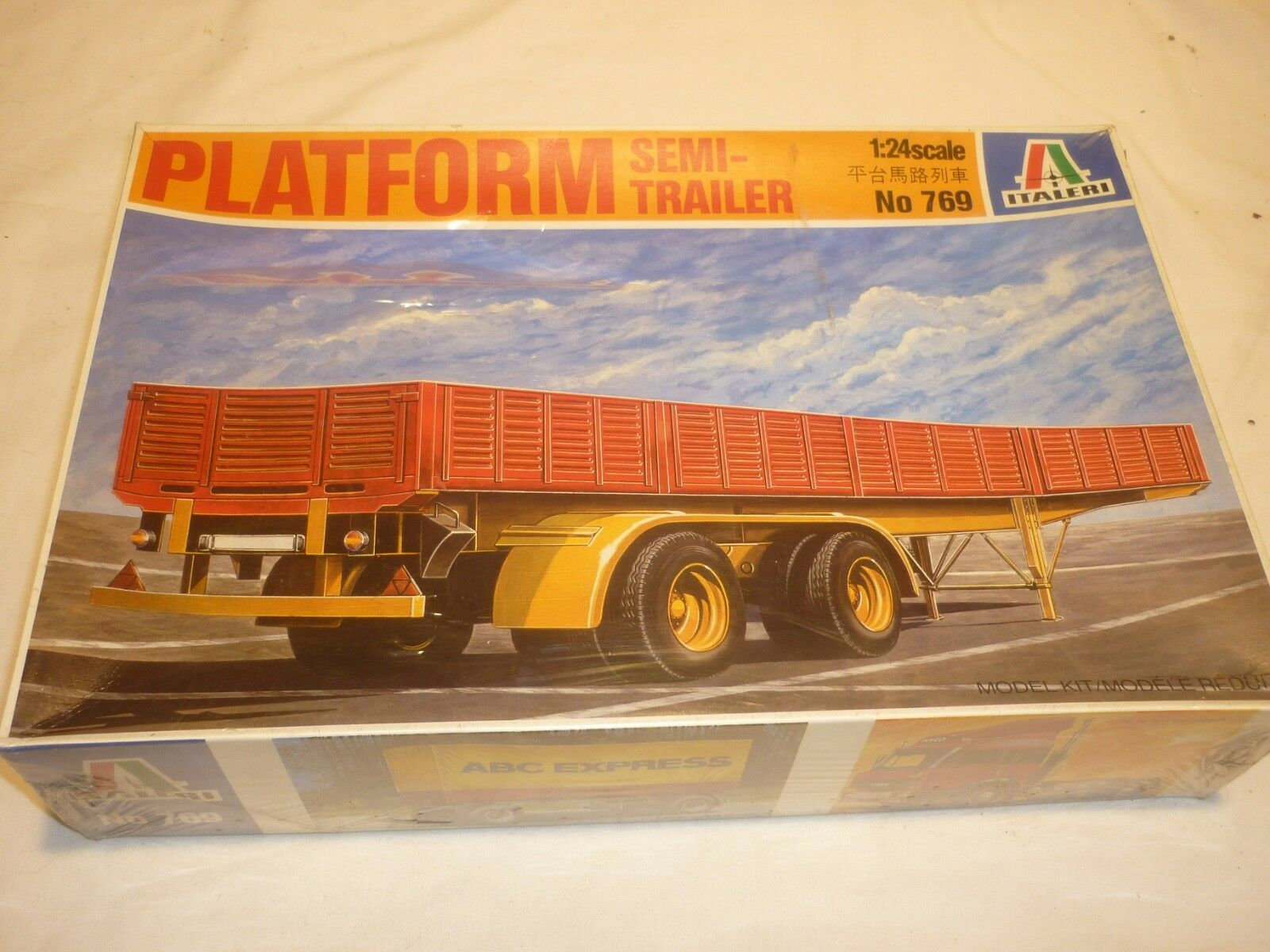 A Factory Sealed Italeri un made plastic kit of a Platform Semi trailer, boxed