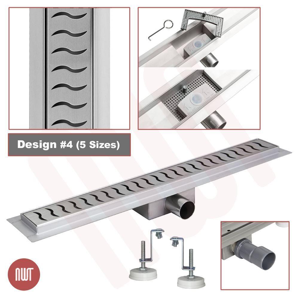 600 mm long rectangulaire en acier inoxydable Linéaire Pièces humides Drain (Design 4)