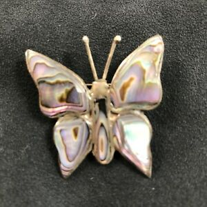 d3290f2f614eb Details about Vintage Butterfly Pin Brooch Mother of Pearl & Silver Made in  Mexico