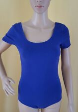 H&M Divided Indigo Blue Leotard Size 8 Short Sleeve Snap Crotch One Piece