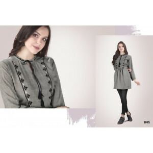 Women-Fashion-Indian-Short-GREY-Rayon-Khadi-Kurti-Tunic-Kurta-Top-Shirt-Dress
