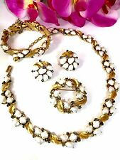 1959 TRIFARI SORRENTO FAUX PEARL RHINESTONE NECKLACE BRACELET BROOCH EARRING SET