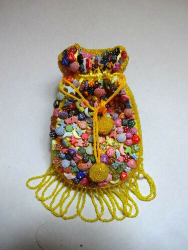 NEW YELLOW BEADED HEART MOON STAR DESIGN CROSS BODY BAG HOLDER POUCH GIFT