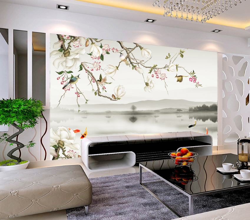 3D Flowers Bird Fish 8 Wall Paper Murals Wall Print Wall Wallpaper Mural AU Kyra