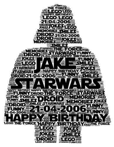 Lego starwars darth vader anniversaire cadeau de noël word art imprimé cadeau