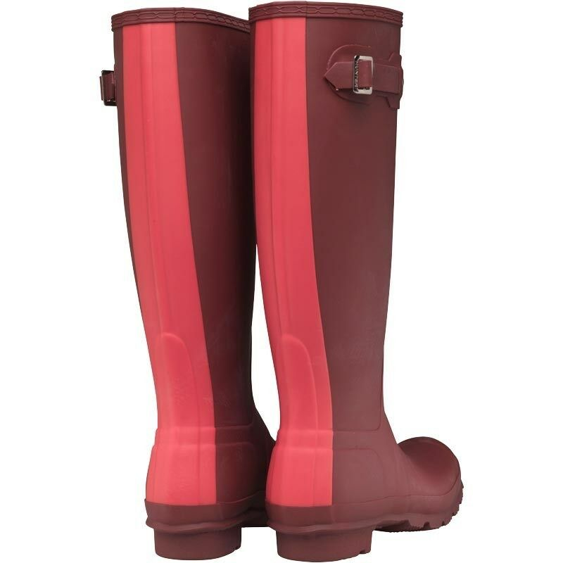 HUNTER ORIGINAL WOMENS STRIPE STRIPE STRIPE WELLINGTON BOOTS - DEEP RED PINK – SIZE 3 – BNIB 3320bc