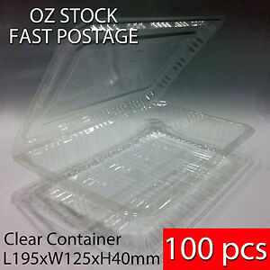 100 pcs x BNIB Sushi Food Party Take Away Disposable Container Clear Plastic 4R