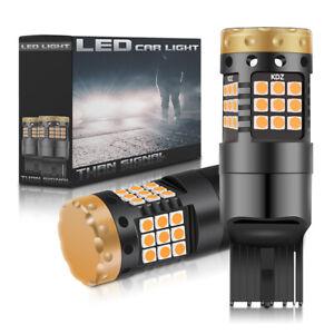 2-x-T20-Ampoule-Canbus-LED-7443-7440-18W-ORANGE-Feux-De-Jour-Clignotant-Ampoules