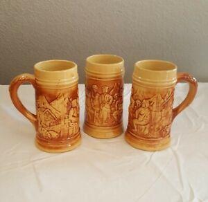 Hull-492-Old-Tavern-Mugs-Set-Of-3-UTILITY-STONEWARE-BEER-STEINS-1920-039-S