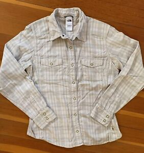 THE NORTH FACE Shirt Women's Sz M Gray Beige Plaid Corduroy Long Sleeve Buttonup