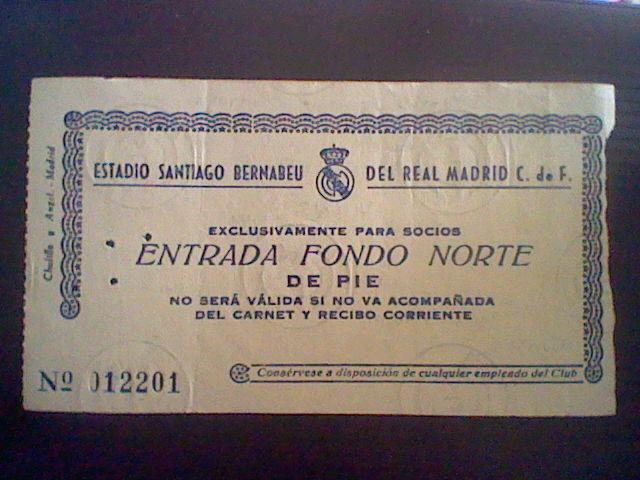Entrada 1962 homenaje zarraga real madrid 0 manchester united 2