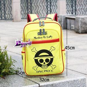 ONE-PIECE-Cosplay-Rucksack-Backpack-Gelb-Stylish-Schaedel-Muster-Bag-Show-Schoen