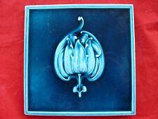 Antique Majolica Art Nouveau Tile Stylised Flower Head Turquoise - Blue / Green