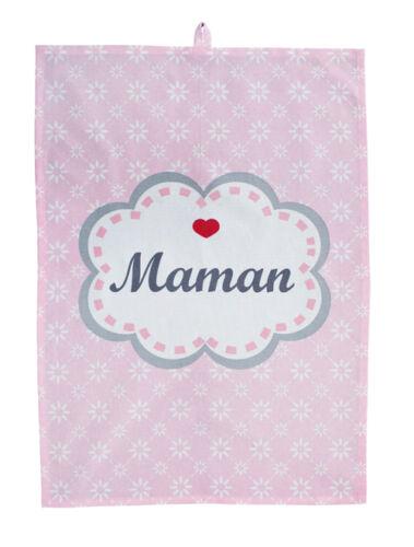 Krasilnikoff Torchon maman FLEURS ROSES COEUR Maman coton 50x70 serviette