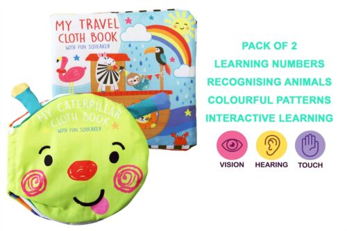 Pack of 2 Interactive Baby Learning Cloth Books Toddler Fun Touch and Feel Book