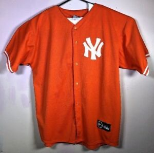 timeless design 346d5 c6dd2 Details about VTG NY New York Yankees ORANGE Baseball Jersey Majestic Size  XL USA ALTERNATE