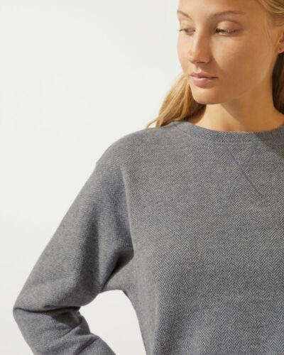 Jigsaw Lux Herringbone Sweatshirt Womens New Grey