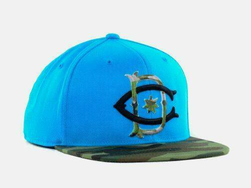 DC Shoes Sublet Mens Cyan Blue Camo 210 Fitted Flexfit Wool Blend Hat Cap NWT