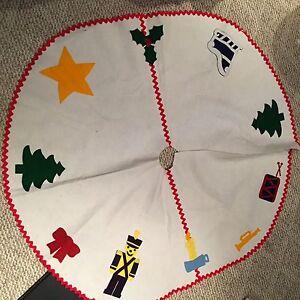 image is loading vintage christmas tree skirt kitsch felt ric rac - Vintage Christmas Tree Skirt