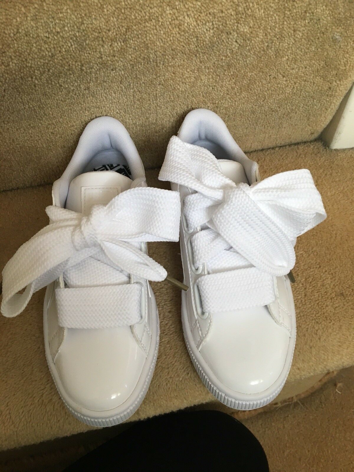 Cheapest On Ebay!!! Women's White Puma Basket Heart Patent Trainers