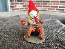 Vintage Gnome Elf, Spun Cotton Head, Chenille Body, Chenille Collar Ornament