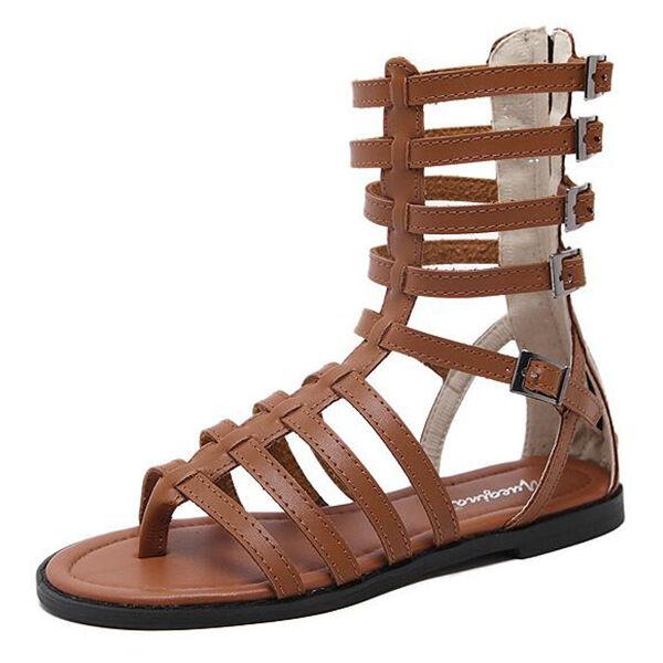 elegantes Sandalias marrón estilo gladiador cremallera tacón bajo CW831