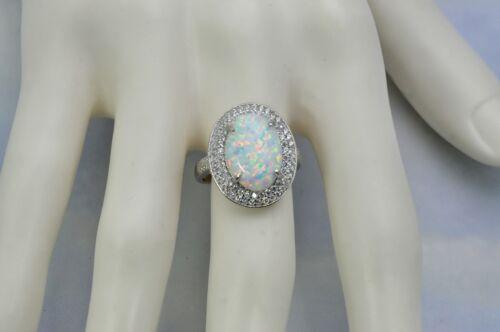 Opale de feu 14X10mm ovale blanc avec Saphir accents anneau Argent Sterling .925