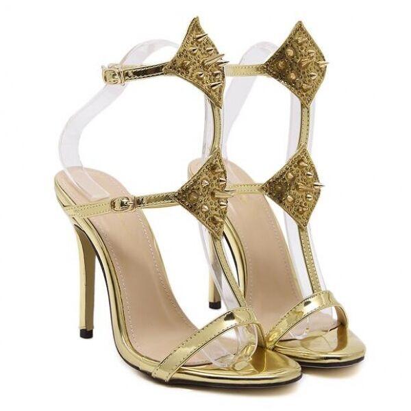 Sandales femmes talon 12 cm Élégant talons aiguilles bijou or comme cuir CW480