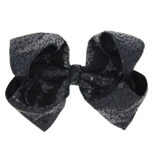 Kids 8 inch Big Sequin Hair Bow Alligator Clips Headwear Girls Hair Accessories