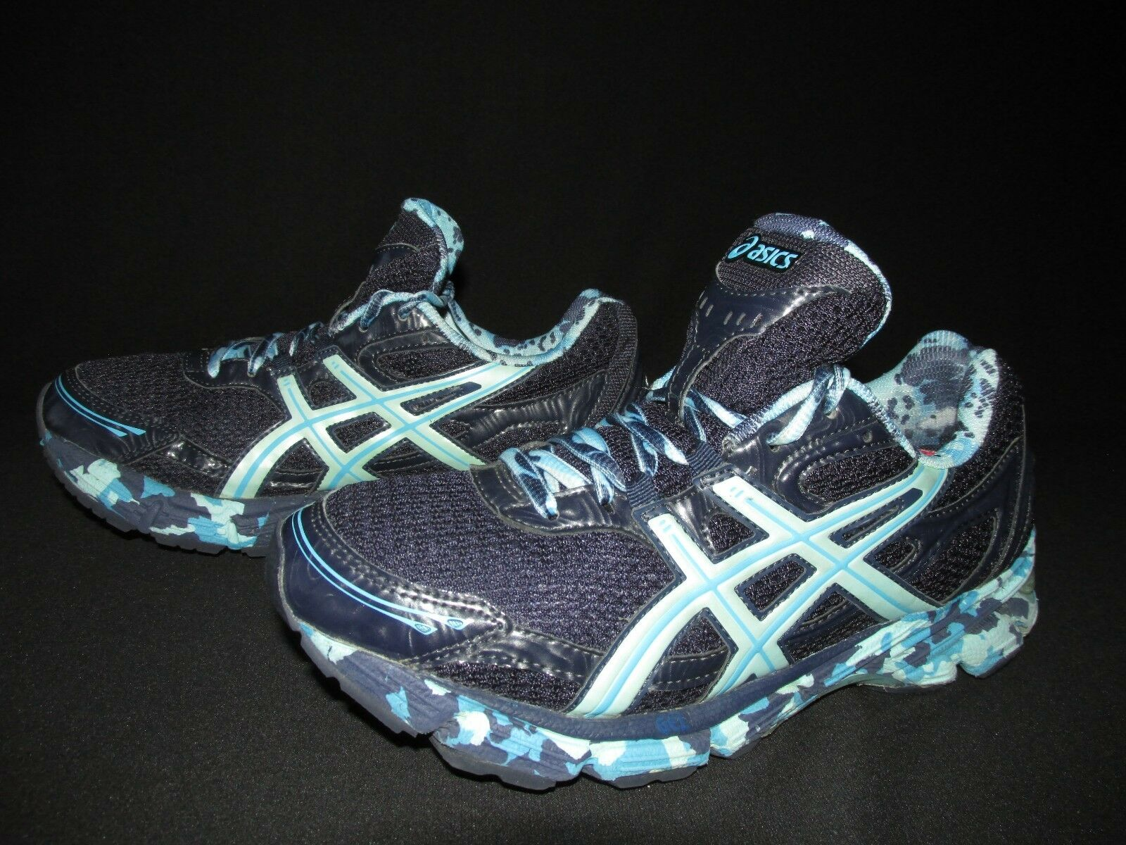 Asics Gel Duomax Navy Green Synthetic Mesh Running  Chaussures  femmes  US 8.5M