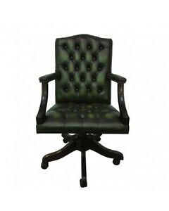 Image Is Loading Chesterfield Leather Gainsborough Antique Green Swivel Office Chair