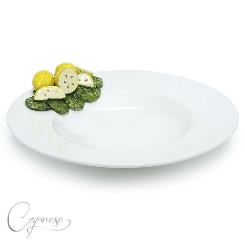 Bassano Céramique de forme ovale assiette 37 cm Citron 3d motif Italie