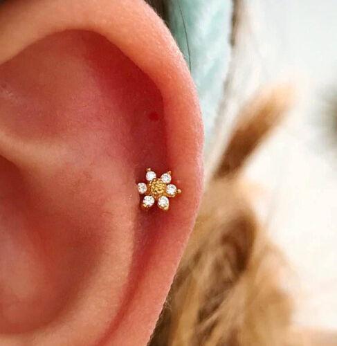 dainty flower barbell CZ Mini Sunflower cartilage earring small tragus earring