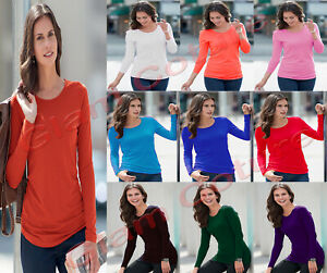 Ladies-Long-Sleeve-T-Shirt-Women-Round-Neck-Plain-Basic-Top-Plus-Size-8-26