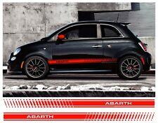 Par FIAT 500 Abarth Rayas Laterales Vinilo Calcomanía Adhesivo no conjunto de detalle sidestripes