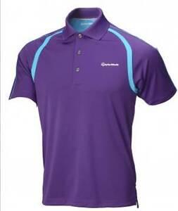 Taylormade golf shirt bright purple turquoise moisture for Moisture wicking golf shirts