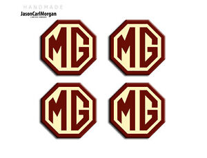 MGF-Alloy-Wheel-Centre-Cap-Emblem-Badges-Burgundy-Cream-45mm-Logo-Hub-Cap-Badge