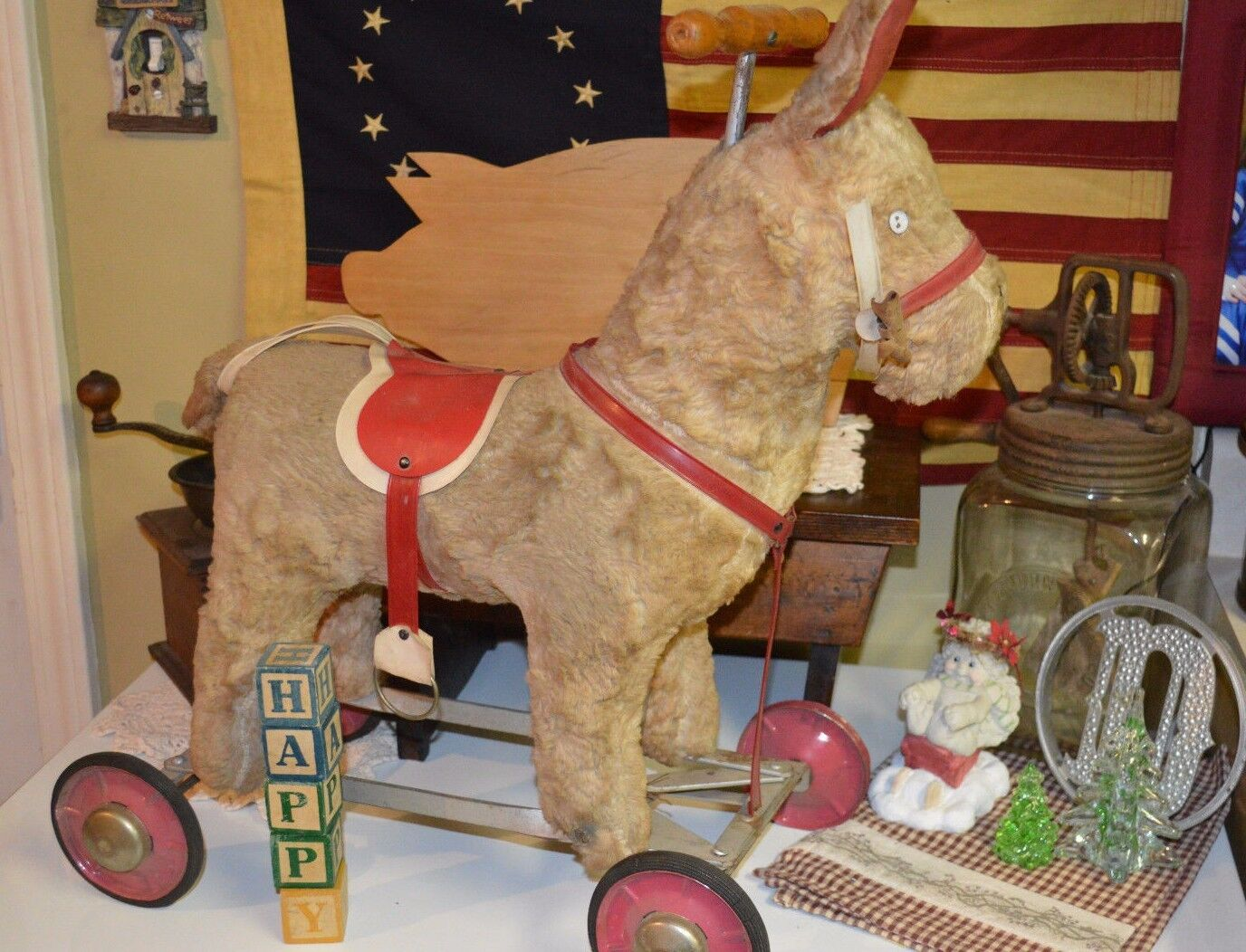 Neat Vintage Mohair Straw Stuffed Ride-On Horse Pull Toy Metal Frame 1940-50's