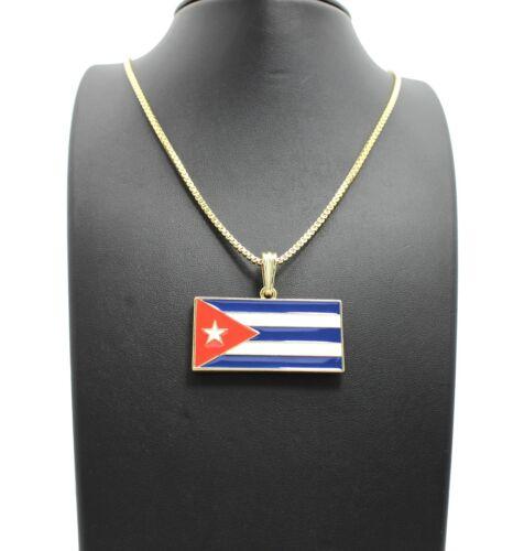 """NEW CUBA FLAG PENDANT /& 24/"""" BOX//CUBAN//ROPE CHAIN HIP HOP NECKLACE XTP61"""