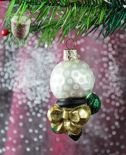 Weihnachtbaumschmuck Christbaumschmuck Lauscha 52D2 Golfball mit Gold Schleife