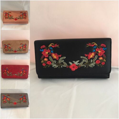 Womens  Embroidered Clutch Bag  Evening Prom Party Purse Floral Handbag UK