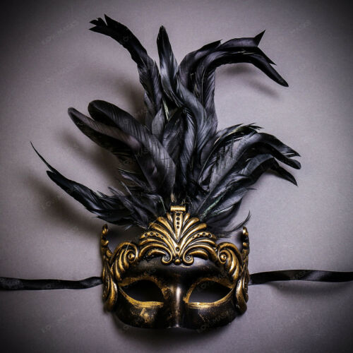 Venetian Mardi Gras Masquerade Full Face Party Mask Feather Costume For Women