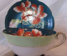 VINTAGE TRIMONT HAND PAINTED BONE CHINA DARK GREEN Cup & Saucer Occupied Japan
