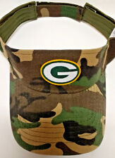 Green Bay Packers HEAT Applied Applique on CAMO visor cap hat! Adjustable!