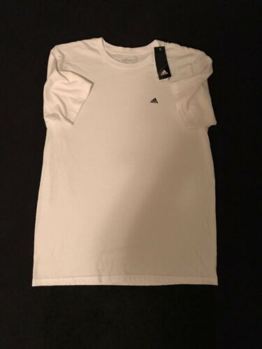 Mens Adidas White Go To Tee T-shirt Logo Size MED MSRP $25 NEW