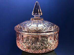 Vintage Indiana Glass Princess Pink Lidded Candy or Dresser Jar