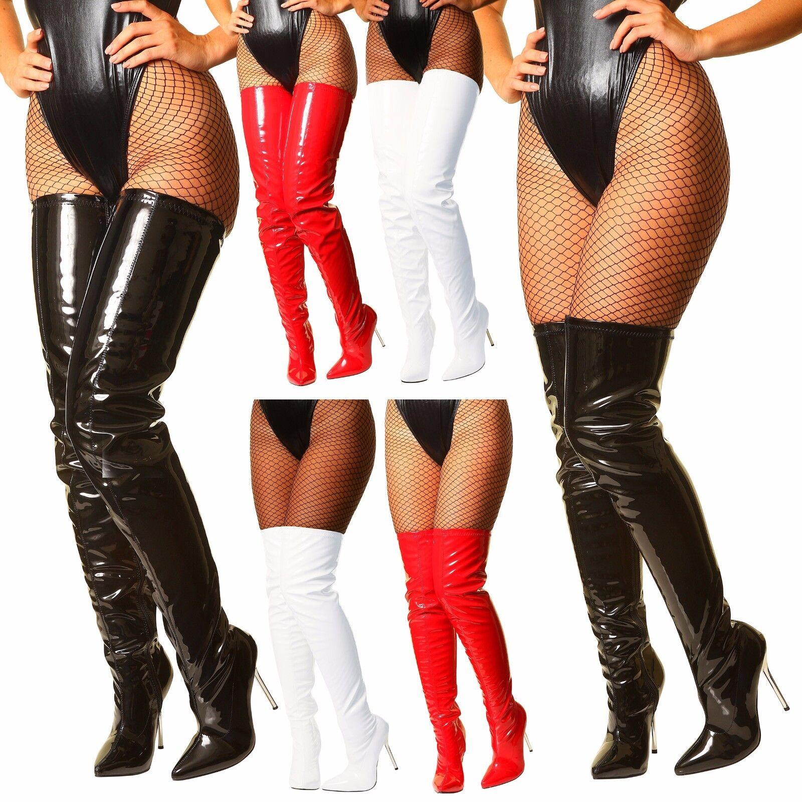 Schwarz Weiß Rot Overknee Stiefel Oberschenkel hoch Lackstiefel Stilett Stiefel