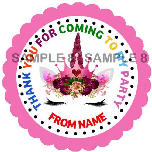 Personalised Unicorn fête d/'anniversaire Autocollants étiquettes pour Sweet Cônes etc 33-21