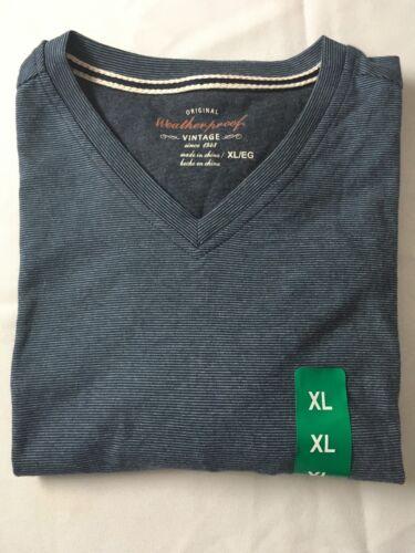 Weatherproof Vintage Men/'s Short Sleeve T Shirt V-Neck Blue//Navy Size:XL 2XL #W