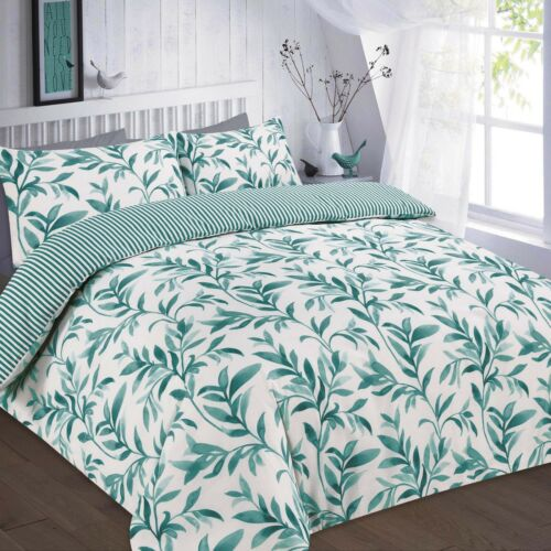 Bedding Set Leaf Stripe Print Poly Cotton Duvet Quilt Cover with Pillow Case